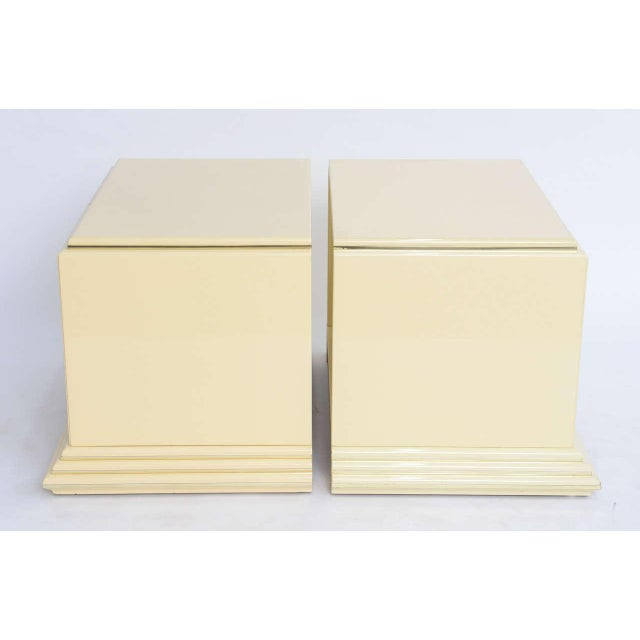 1970s Mid-Century Modern Rougier Cream Lacquer Bedside Tables - a Pair For Sale In Miami - Image 6 of 9