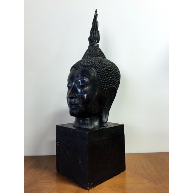 Asian Extra Large Buddha Head Sculpture For Sale - Image 3 of 11