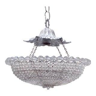 Vintage Silver Beaded Basket Chandelier For Sale