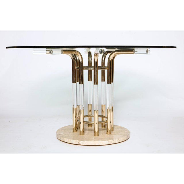 Mid-Century Modern 1970s Brass, Lucite, & Travertine Round Dining Table For Sale - Image 3 of 7