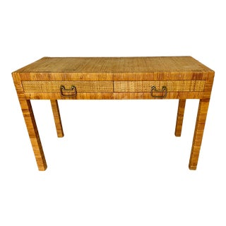 Vintage Wrapped Rattan Cane Desk Console For Sale