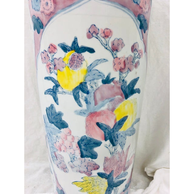 Vintage Painted Ceramic Umbrella Stand For Sale - Image 4 of 8