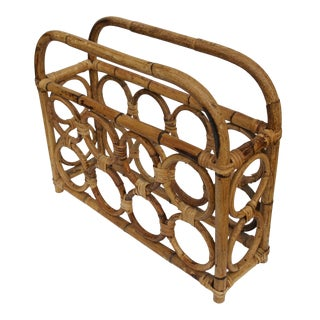 1960s Vintage Rattan Wine Rack For Sale
