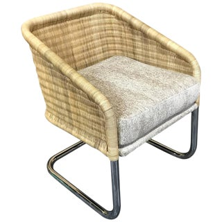 Single Martin Visser Wicker and Chrome Cantilever Club Chair For Sale