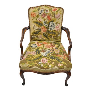 Antique Floral Needlepoint Mahogany Arm Chair For Sale