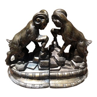 Vintage 1970s Metal Ram Bookends - a Pair For Sale