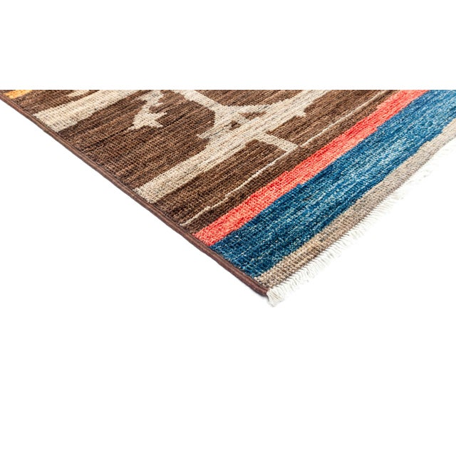 """Moroccan Hand Knotted Area Rug - 4'3"""" X 4'6"""" - Image 2 of 3"""