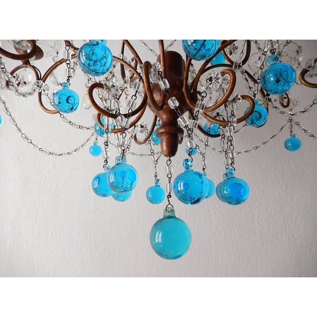 Baroque French Blue Murano Balls Beaded Swags Chandelier, circa 1900 For Sale - Image 3 of 13