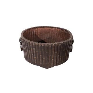 Tabletop Round Bronze Bamboo Planter For Sale