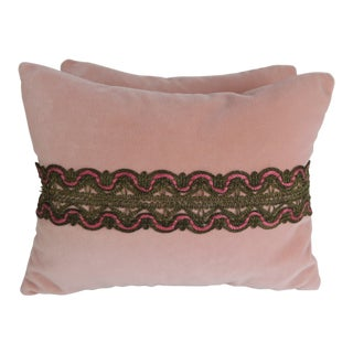 Pair of Metallic Lace Pink Velvet Pillows For Sale