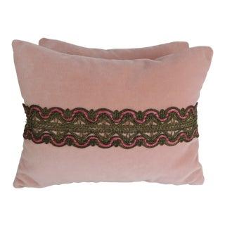 Pair of Metallic Lace Pink Velvet Pillows