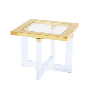 Hollywood Regency Pasargad Home Vicenza Lucite White Side Table For Sale