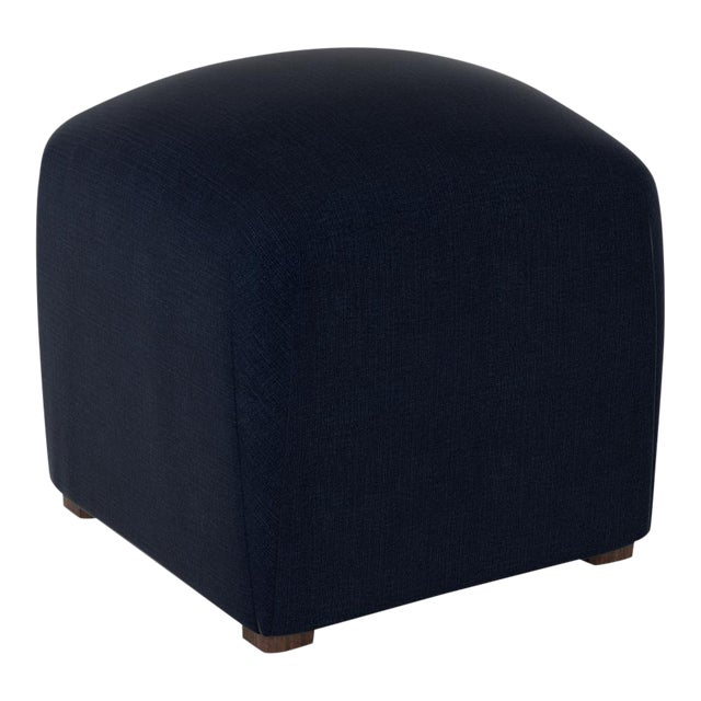 Linen Navy Cube Ottoman For Sale In Chicago - Image 6 of 6