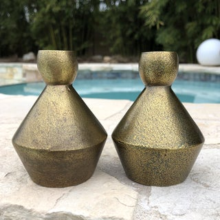 1970s Modern Brutalist Style Cast Brass Candle Holders - a Pair Preview