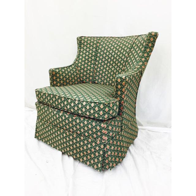 Vintage Swivel Green Arm Slipper Chair Chairish