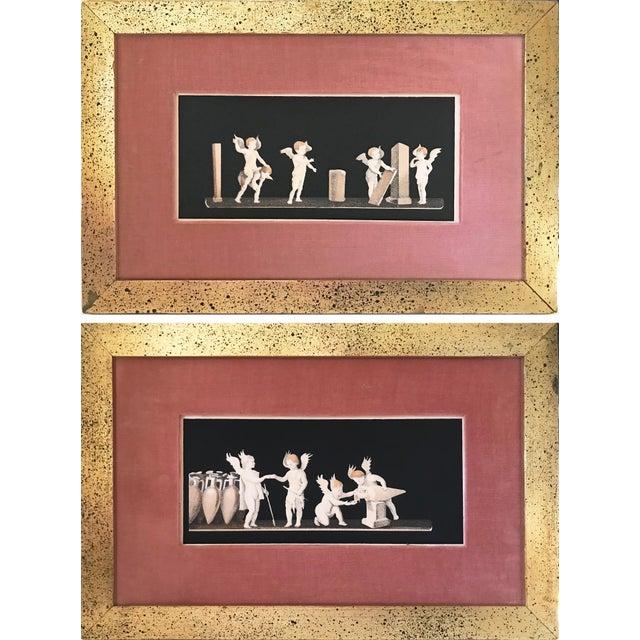 Orange Antique Neoclassical Cherub Lithographs/ Pair For Sale - Image 8 of 9