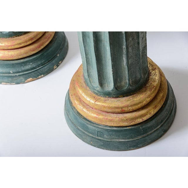 Blue Polychromed Wood Roman Fluted Columns Pillars Pedestal Stools, A-Pair For Sale - Image 8 of 12