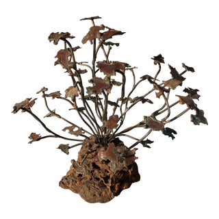 1970s Brutalist Copper & Stone Tree Sculpture For Sale