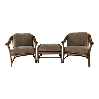 1990s Vintage Ficks Reed Club Chairs and Ottoman - 3 Pieces For Sale