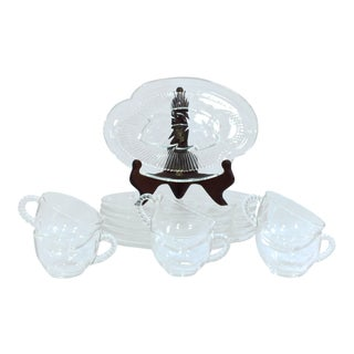Federal Glass Homestead Pattern Snack Set, Svc for 6 For Sale