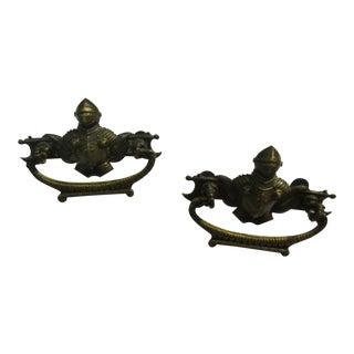 Antique Victorian Brass Drawer Pulls - A Pair