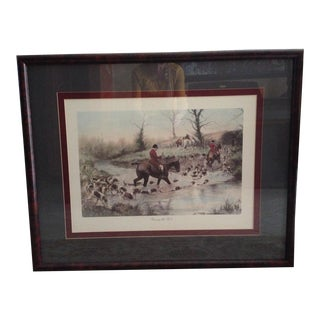 Print of Crossing the Ford by George Wright Framed/Glass/Signed For Sale