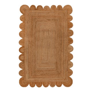 Natural Color Jute Scallop Handmade Rug - 5'x7' For Sale
