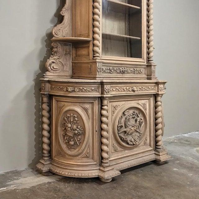 Renaissance 19th Century Renaissance Stripped Oak Hunt Bookcase For Sale - Image 3 of 13