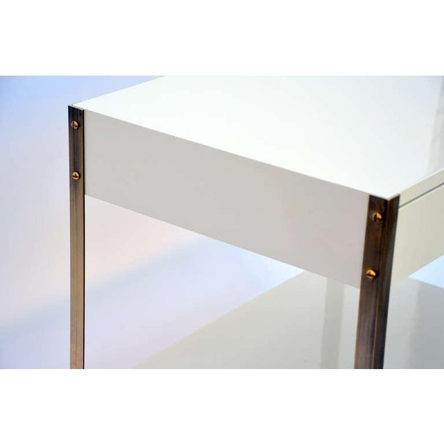 Pair of Minimalist Ivory Lacquer and Brass Nightstands For Sale - Image 4 of 11