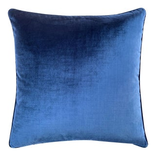 Italian Sapphire Blue Velvet Pillow For Sale