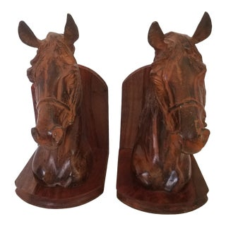 Vintage Brutalist Large Walnut and Bronzed Equestrian Bookends - a Pair For Sale