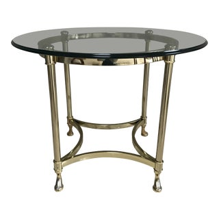 Hollywood Regency LaBarge Hoofed Brass and Glass Side Table For Sale