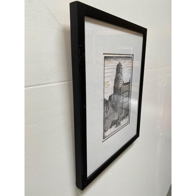 Mid 20th Century Mid 20th Century Art Deco Style Architectural Landscape Woodcut Print, Framed For Sale - Image 5 of 8