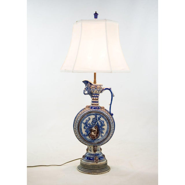 1920s Neoclassical Italian Porcelain Pitcher Double Light Table Lamp For Sale - Image 12 of 12