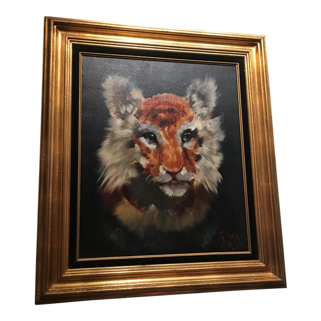 Gold Framed Tiger Cub Oil Painting - Image 1 of 8