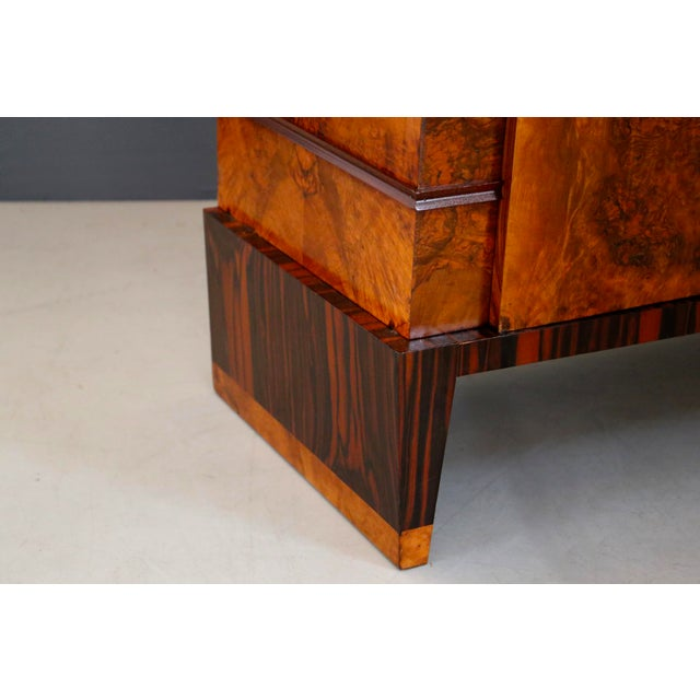 Chestnut Gio Ponti Sideboard Midcentury in Walnut Briar and Brass Attributed, 1950s For Sale - Image 8 of 11