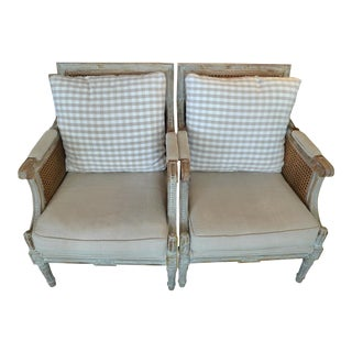 19th Century French XIX Louis XVI Rush and Fabric Armchairs- a Pair For Sale