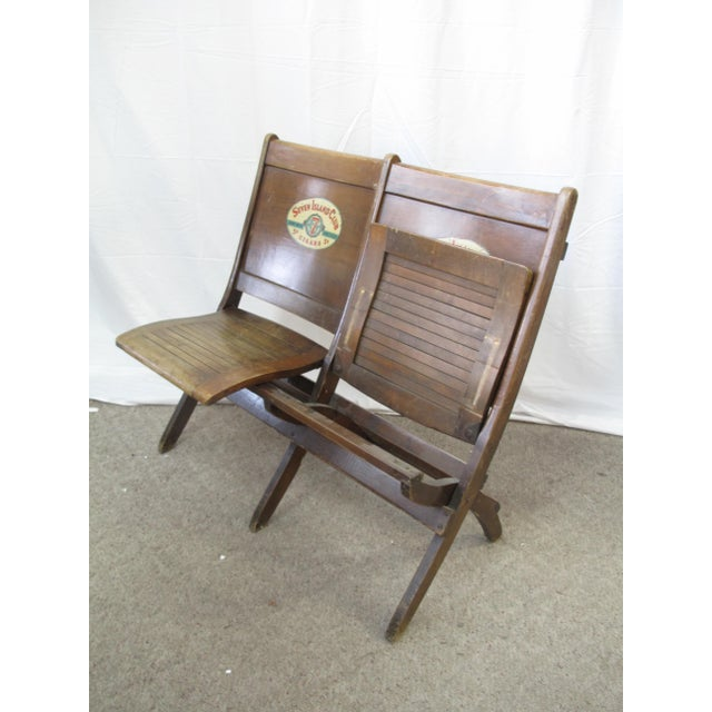 Early 20th Century Pre War Seven Island Club Cigars Folding Double Bench For Sale - Image 5 of 9