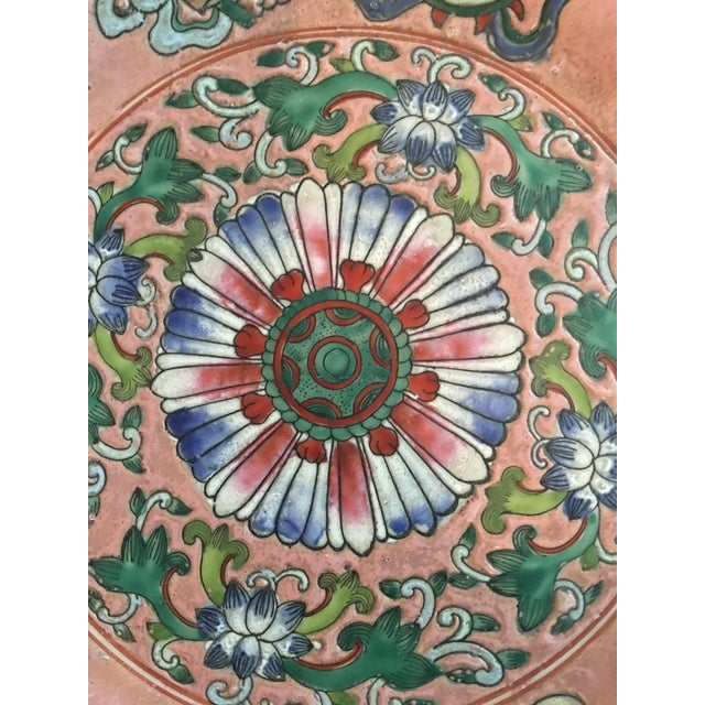 Late 20th Century Vintage Chinoiserie Decorative Pink Porcelain Plate For Sale - Image 5 of 8