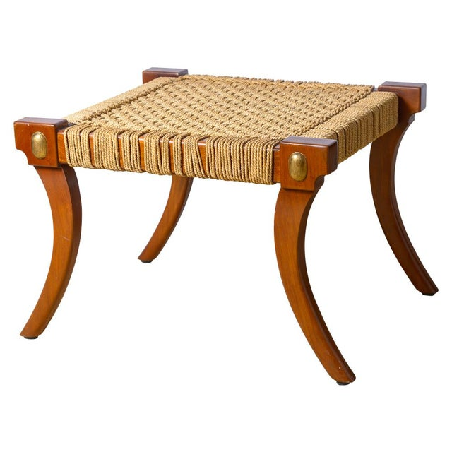 Robsjohn Gibbings Style Klismos Wood & Rope Ottoman For Sale - Image 11 of 11