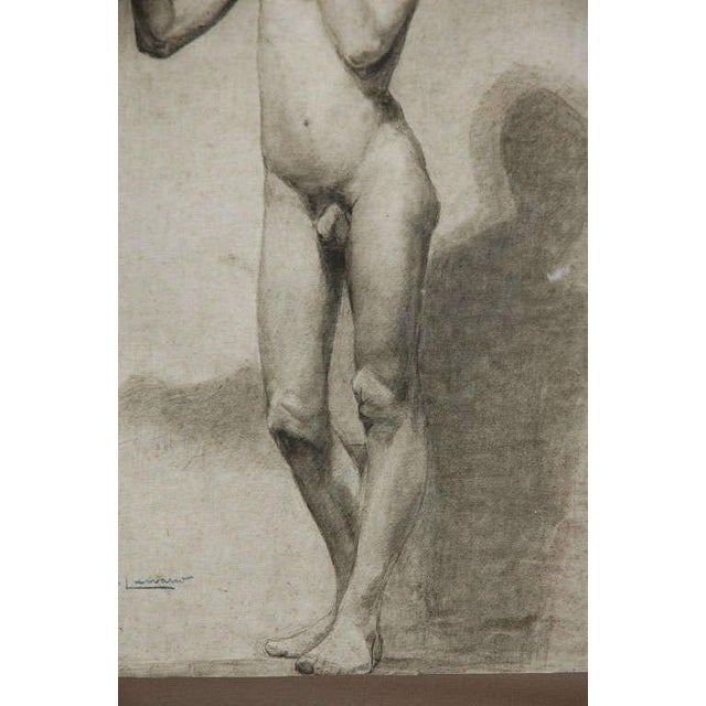 White Pair of Charcoal Italian Male Nude Drawings From 1880 For Sale - Image 8 of 10