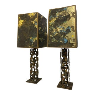 1970s Brutalist Style Signed Artisan Handmade Welded Lamps - a Pair For Sale