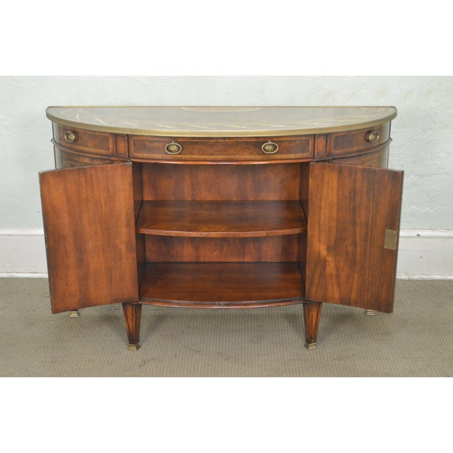 2000s Theodore Alexander Inlaid Burl Wood Demilune Bow Front Side Cabinet Console For Sale - Image 5 of 13