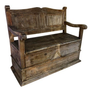 Rustic Farmhouse Box Bench For Sale