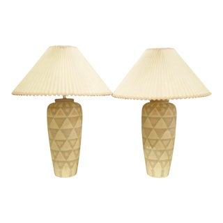 PAIR Modern Geometric Motif Vase Form Pottery Table Lamps