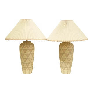Pair of Modern Geometric Motif Vase Form Pottery Table Lamps For Sale
