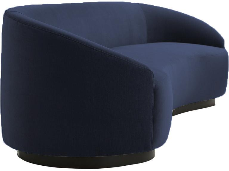 Art Deco Arteriors Home Inspired Curved Navy Blue Sofa Chairish