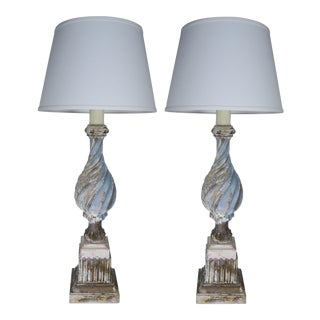 Italian Carved Wood Painted Lamps W/ Linen Shades, Pair For Sale