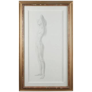 Monumental Mid-Century Modern Standing Nude Graphite Portrait by David Hanna For Sale