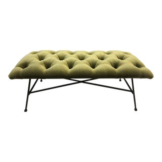 1960s Tufted Velvet and Wrought Iron Bench For Sale